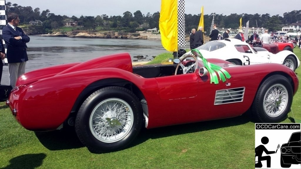 1956 Maserati 150S rests proudly on the lawn at the 2014 Pebble Beach Concours d' Elegance.
