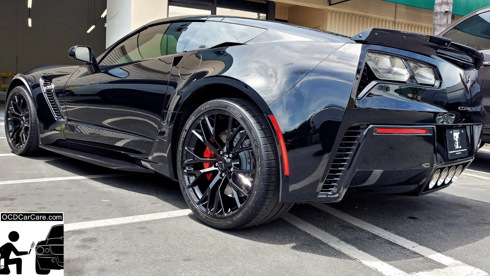 Corvette Z06 and reflections for days due to Los Angeles best paint correction specialist and pro ceramic nano coating installer, OCDCarCare.