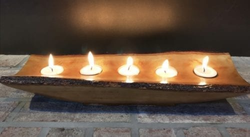 wood bark candle holder tray